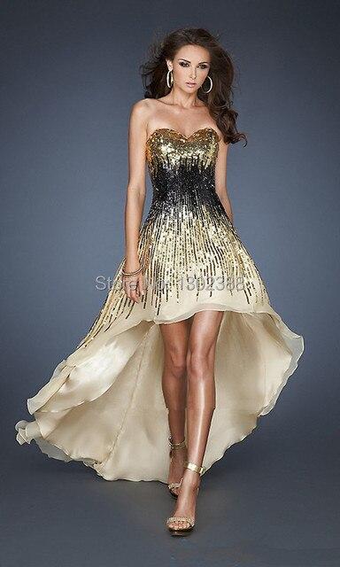 81d0bc42dbf4 vestidos de festa Shiny Gold and Black Beaded Sleeveless High Low Party  Dress Sexy Prom Dress 2014 vestido de festa longo