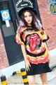 Melinda estilo 2017 de las nuevas mujeres fashion dress imprimir patrón de manga corta t-shirt dress envío gratis