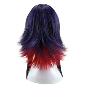 Image 3 - HAIRJOY 합성 머리 보라색 블루 혼합 레드 코스프레 가발 스트레이트 Ombre 의상 가발 2 색상을 사용할 수