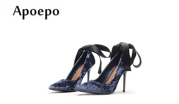 Apoepo Hot Selling Lace-up High Heel Shoes 2018 Newest Pointed Toe Wedding Heels Woman Sexy Stiletto Heesl Velvet Dress Shoes 2017pink pointed toe flock velvet women ankle wrap high heels party dress lady designer pumps shoes lace up stiletto shoes woman