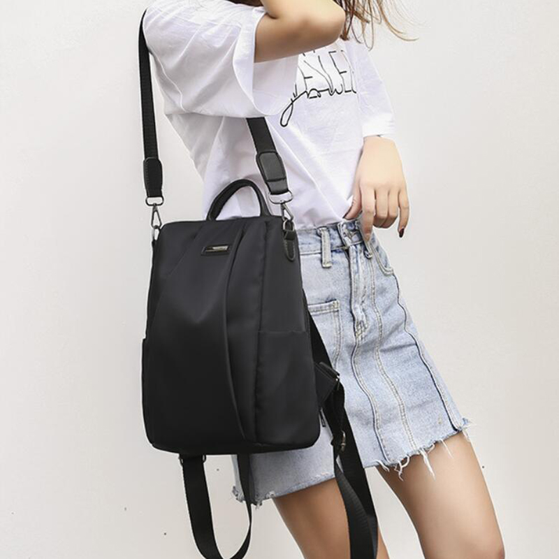 HTB1oiRhXozrK1RjSspmq6AOdFXaI Fashion Laptop Backpack Nylon Charge Computer Backpack Anti-theft Waterproof Bag for Women Oxford cloth student bag Teenage