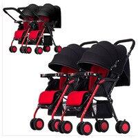 Twins Baby Stroller Double Carts Multiple Stroller Lightweight Four Wheels Stroller Baby Pram Pushchair Can Sit Lie Split Two