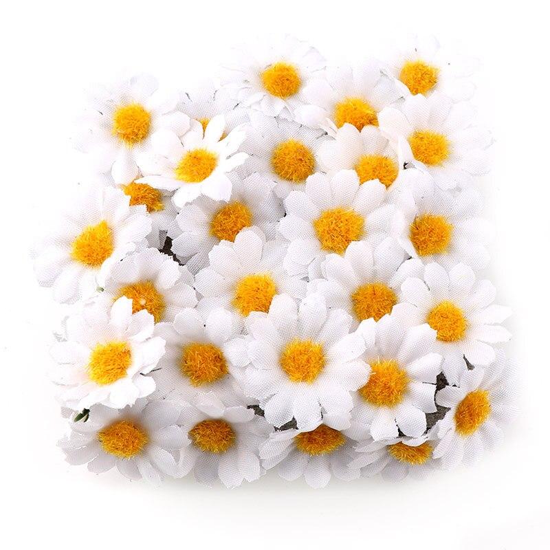 100 шт./лот, 2,5 см Декоративные искусственные шелковые цветы в виде маргариток, вечерние свадебные украшения, домашний декор (без стебля), деше...