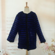 Women natural mink fur coat and jacket fashion striped design 100% genuine min fur knitted outerwear For Female Winter w005