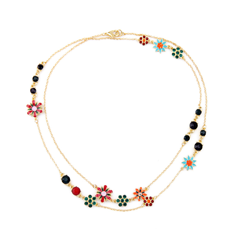 Brilliant Jewelry Bohemia Style font b Necklace b font Enamel Flower Koren Girls Lovely Zinc Alloy