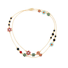 Brilliant Jewelry Bohemia Style Necklace Enamel Flower Koren Girls Lovely Zinc Alloy Long Necklaces Gold Plated