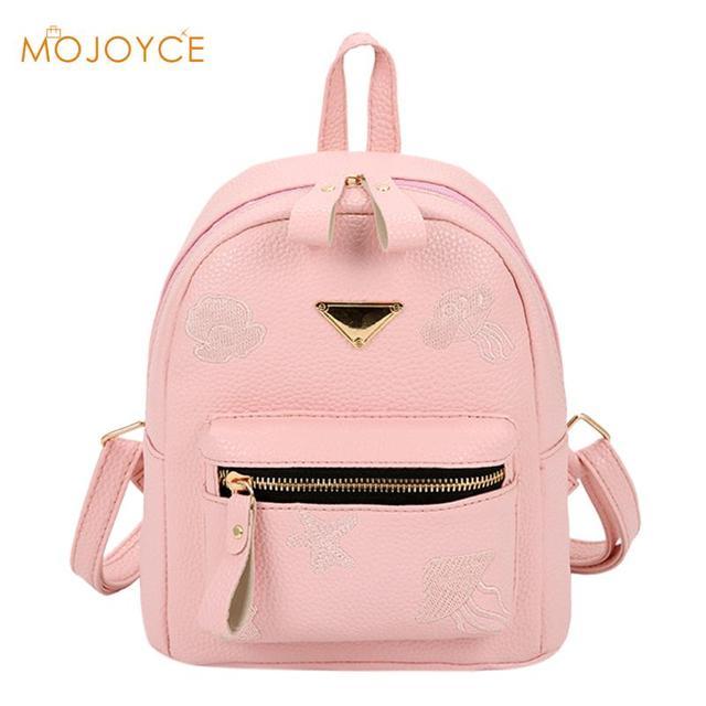 101841e023 2018 Candy Colors Fashion School Girls Bags Women s PU Leather Zipper  Backpack Small Cute Shoulder Bag …