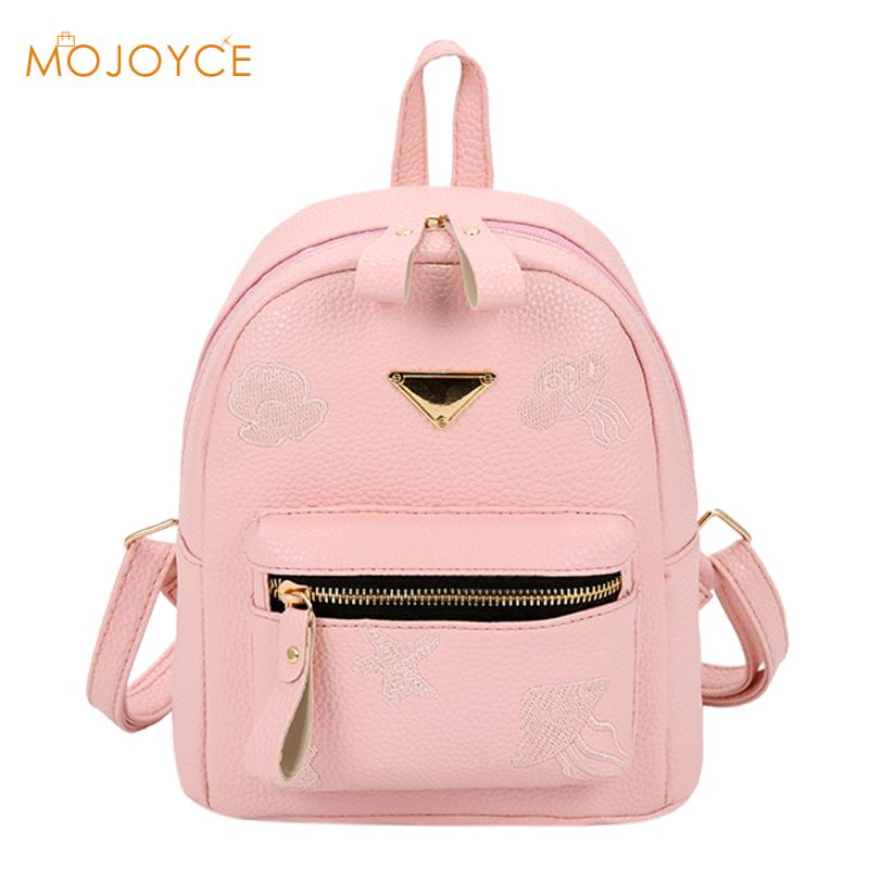 2018 Candy Colors Fashion School Girls Bags Womens PU Leather Zipper Backpack Small Cute Shoulder Bag for Girs Female Back Pack