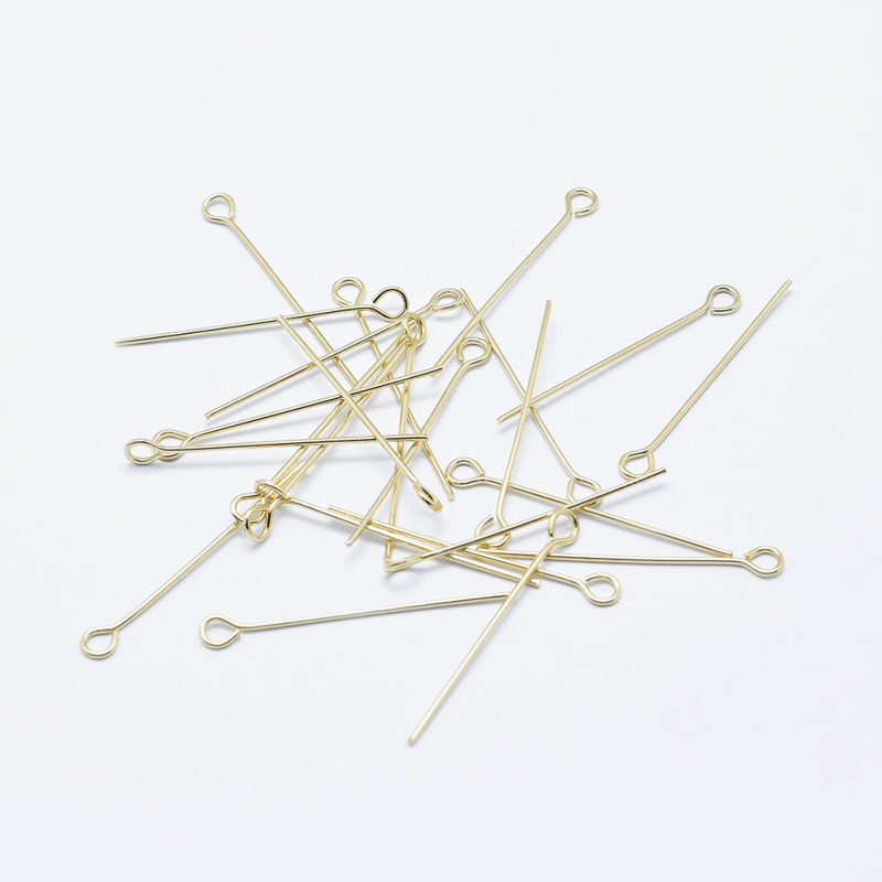 20/25/30/45mm Electroplated Brass Eye Pins Long-Lasting Plated Real 18K Gold Plated DIY Jewelry Accessories Handicrafts Supplies(China)