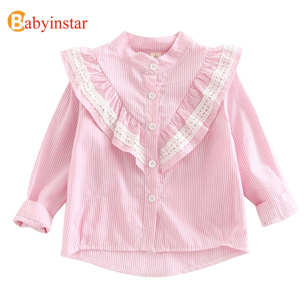 все цены на Babyinstar Girls Blouse 2018 New Autumn Ruffles Stripe Shirts Children's Clothing Cotton Tops Outwear Fashion Lace Girls Shitrs