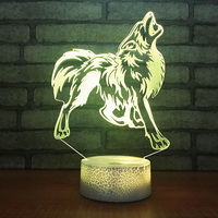 3D LED 7 Colors Changing Visual Touch USB Wolf Called Modelling Creative Night Lights Animal Desk Lamp Home Decor Light Fixtures