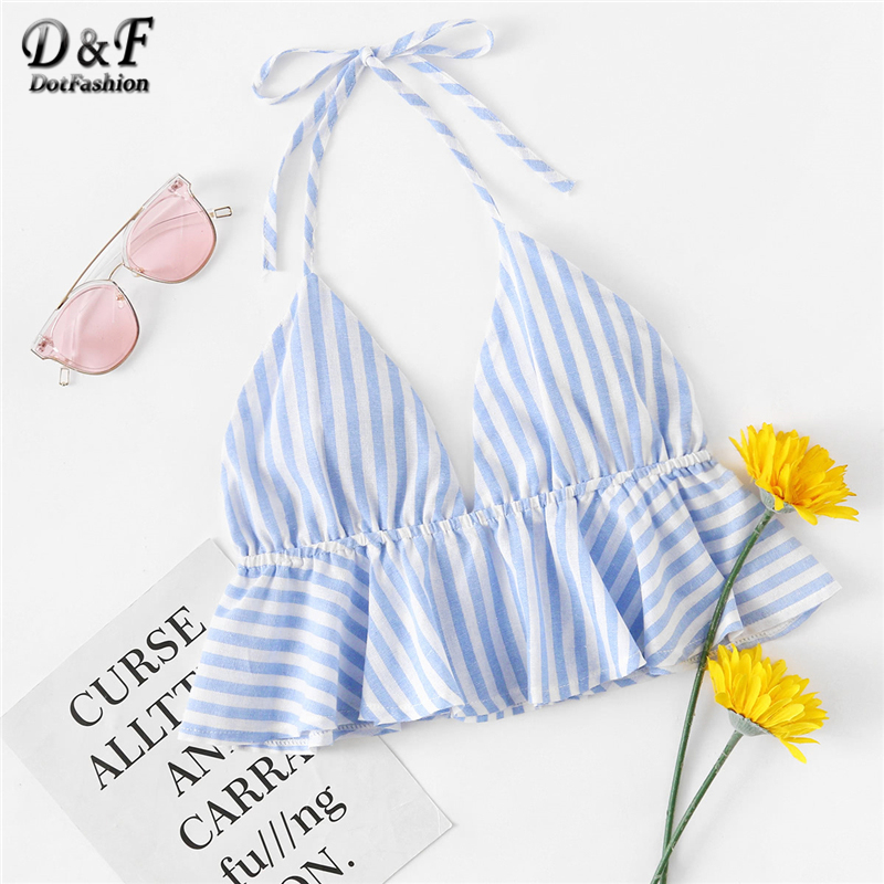 Dotfashion Striped Frill Hem Open Back Crop Halter Top 2018 New Fashion Ruffle Hem Women Clothes Ruffle Crop Camisole