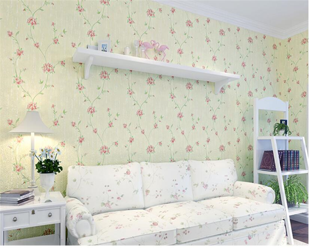 beibehang Embossed aesthetic pastoral environmental nonwovens wallpaper living room bedroom TV background papel de parede tapety