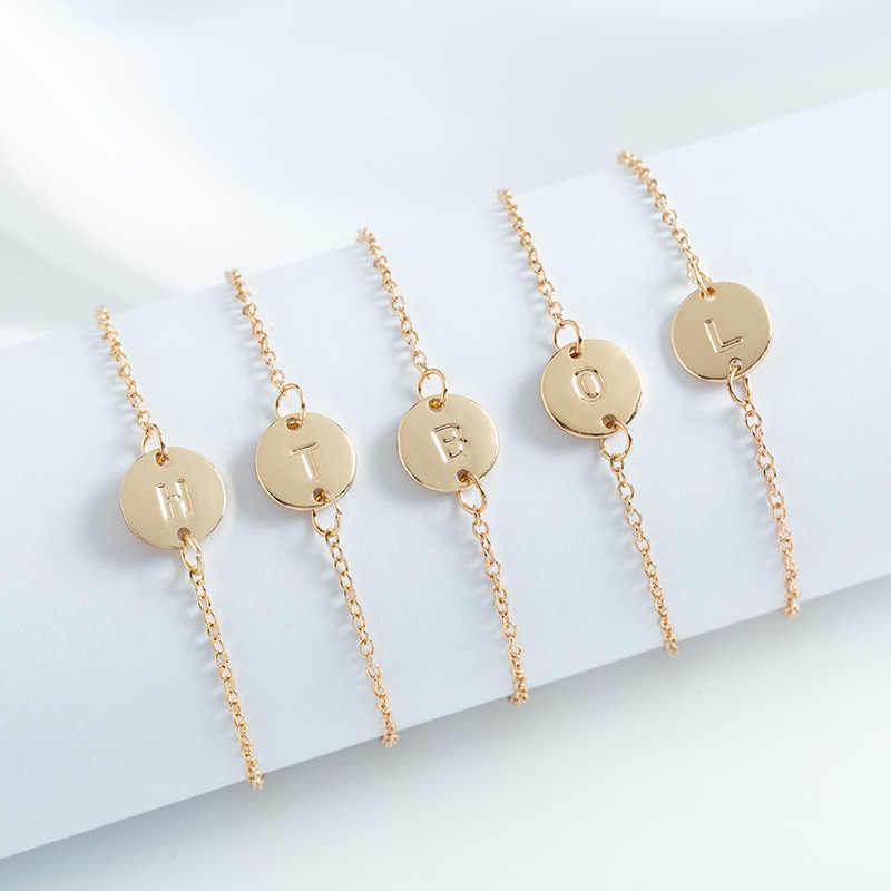 אופנה 26 זהב צבע אותיות צמיד & צמיד לנשים פשוט מתכוונן שם צמידי Pulseras Mujer תכשיטי מפלגה מתנות