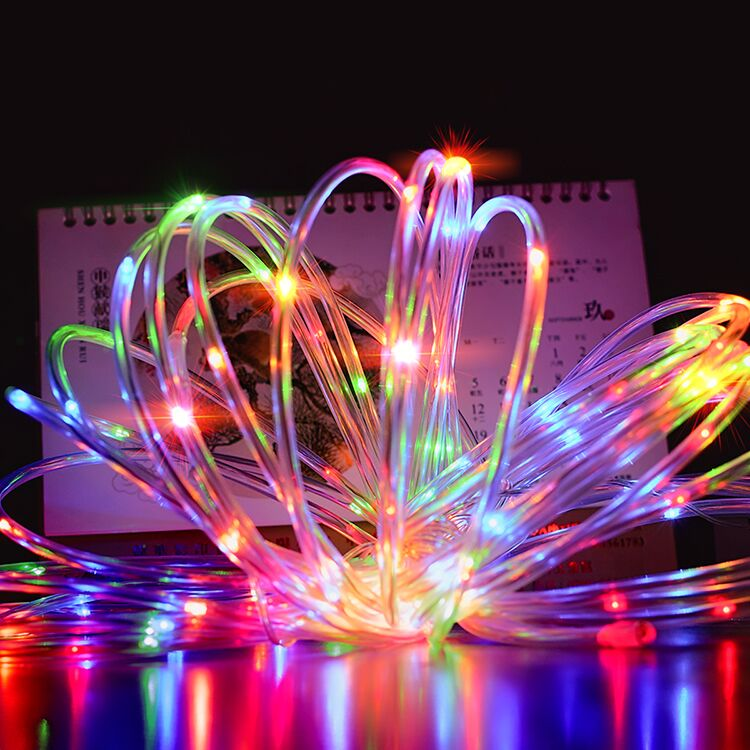 10M Copper Wire Light String Solar Powered Light String100-LED Hollow Soft <font><b>Tube</b></font> Copper Wire String Light Lamp 3 Mode