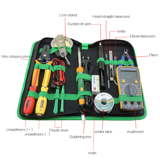 BST-113 Tools box 16 in 1 Household Professional Tools Screwdrivers Soldering Iron Multimeter Tweezers Repair Tool kit Tool box  4