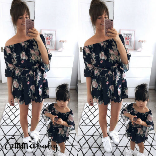 Mother Girl Family Matching Outfits Off Shoulder Floral Dress Summer Chiffon Girl Women Boho Loose Dresses Clothes