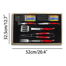 16pcs/set Stainless steel Dinnerware Set BBQ Tool Meat Fork Shovel Steak Knives Forks Rainbow Tableware Cutlery Christmas Gift