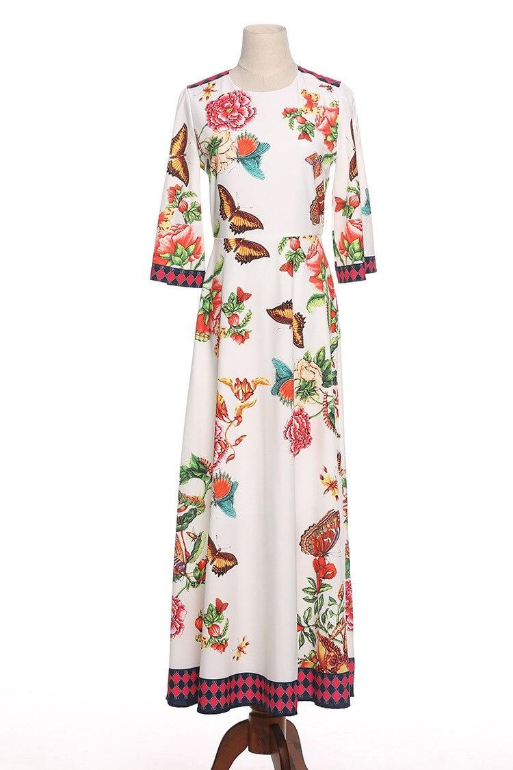 Imprimer Printemps Été Flare Robe Maxi Papillon Manches Femmes Pistes Fleurs 2018 g105 Longue H1BqxwxU