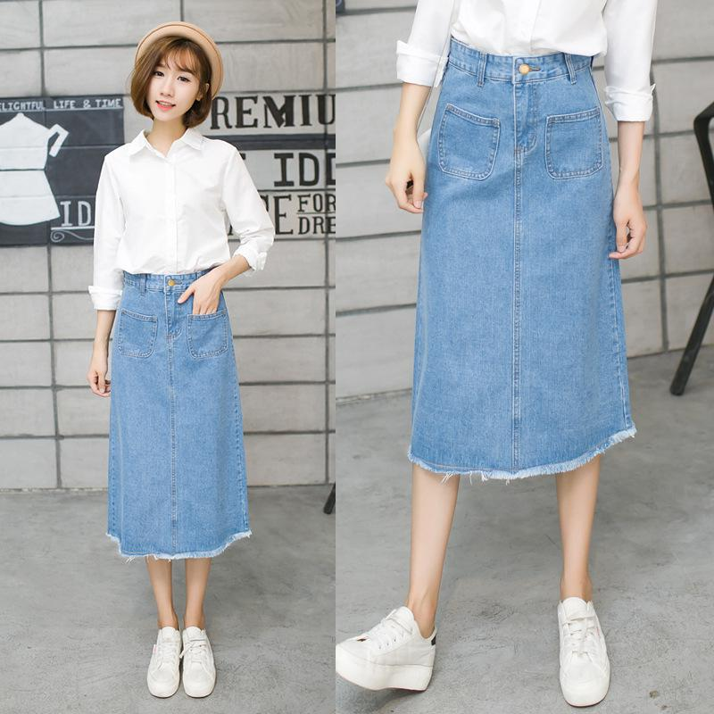 Online Get Cheap Denim Midi Skirt Blue -Aliexpress.com | Alibaba Group