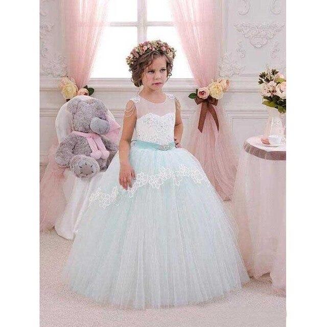 c1b44976812 Sheer White And Sage Green Flower Girls Dresses 2017 New Green Sleeveless  Floor Length Princess Girls Wedding Party Dress hf189