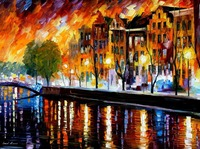 beautiful Painting Home Decor amsterdam winter reflection Colorful oil paintings Canvas Modern Fine Art High quality Handmade