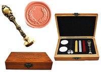 Vintage Olive Custom Luxury Wax Seal Sealing Stamp Brass Peacock Metal Handle Sticks Melting Spoon Wood