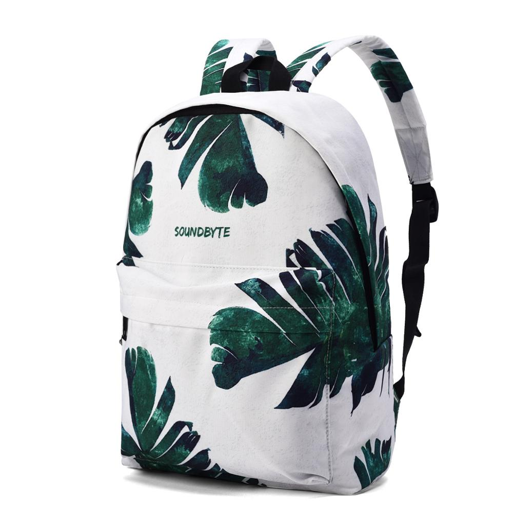 High Quality Canvas Women Backpack College School Green Leaf Printing Female Daily Laptop Bagpack For Girls Bookbag