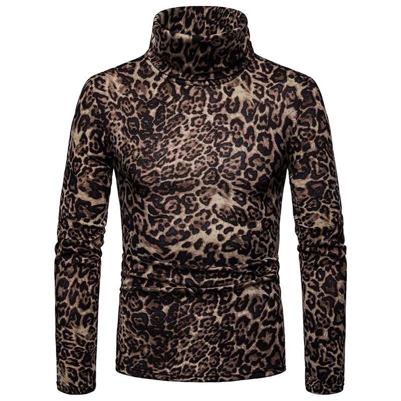 2019 Long Sleeve High Collar Sweaters Winter Men'S Turtleneck Leopard Print Sweater Warm Knitted Pullovers Male Jumper Knitwear