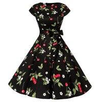Elegant Black Women Dress Cherry O Neck Womens Dress Dress Vintage 1950S Cap Sleeve Summer Rockabilly Swing Cocktail Party Dress