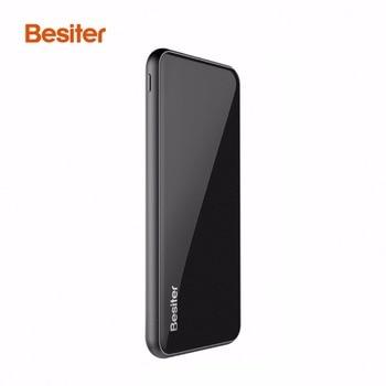BESITER 10000MAH Ultra Thin External Power Bank Battery Charger Supply External Battery Charger For Smart Phones Black usb battery bank charger