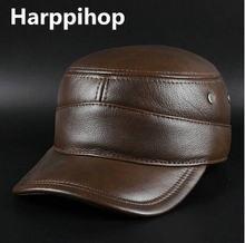Harppihop hombres gorra de béisbol del cuero genuino nuevo invierno cálido  real vaca cuero CAPS sombreros 639b7578072