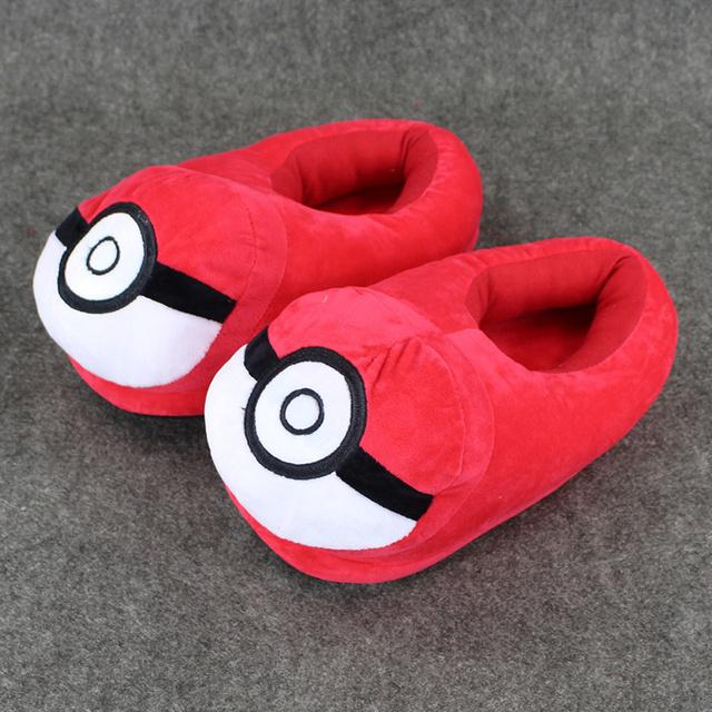 1 Par Anime Pokeball Rojo Muñeco De Peluche Juguetes de Peluche Suave Zapatillas Zapatos 28 cm aprox