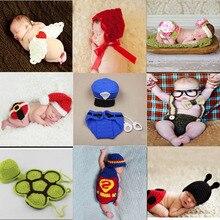 Младенческая новорожденная фотография Реквизит Костюм ручной вязки крючком Младенческая шапочка шляпа с накидкой животный дизайн Крыло Супермен полицейский