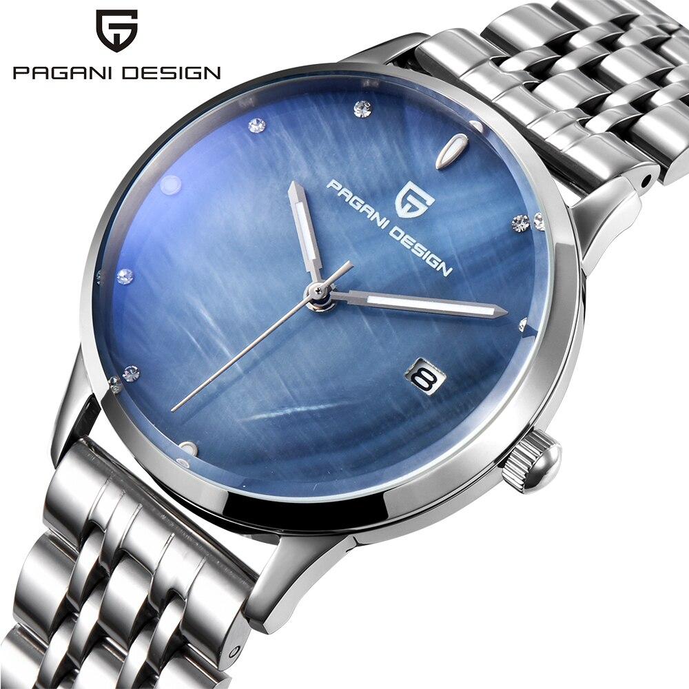 PAGANI DESIGN Brand Lady Fashion Stainless Steel Quartz Watch Women Waterproof shell dial Luxury Dress Watches