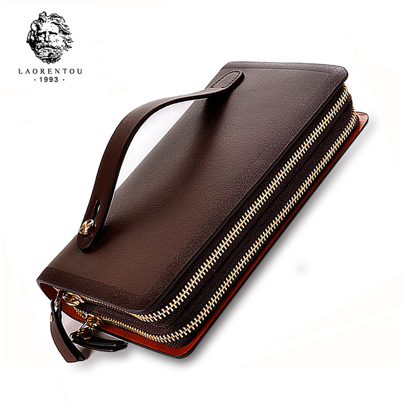 LAORENTOU Cowhide Leather Men's Large Capacity Wallet Double Zipper Men Purse Fashion Male Long Wallets Man Clutch Bag N53