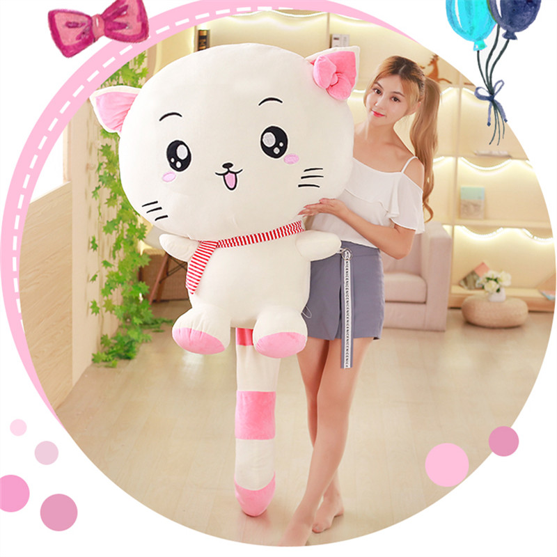 купить Cartoon Soft Stuffed Plush Cat Toys Cute Cat Animal Push Dolls Gifts for Kids Girlfriend по цене 1801.93 рублей