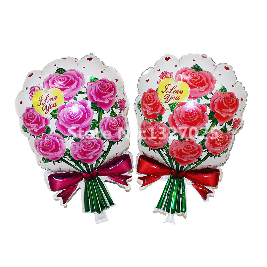 1pcslot Red Pink Bouquet Roses Balloon Flowers Baloon Birthday