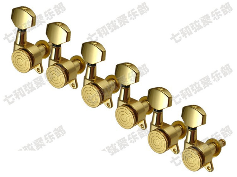 6pcs Gold Plated Locked Guitar String Tuning Pegs Tuners Machine Heads Guitar String tuning buttons a set of 6 pcs locked string tuners tuning pegs key machine heads for acoustic electric guitar lock