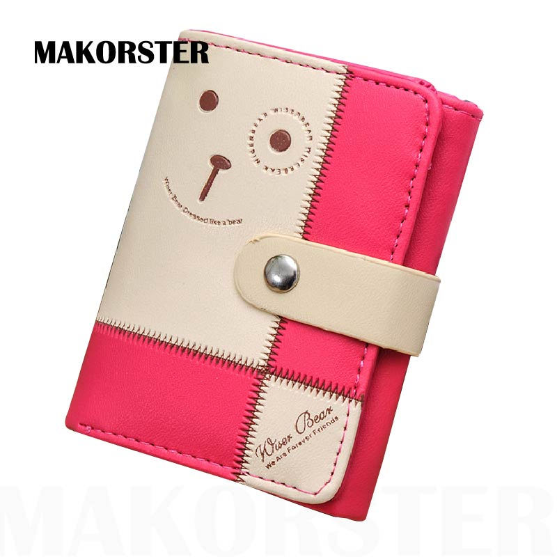 MAKORSTER Fashion Ladies Brand Women PU Leather Credit Card Holder Money Wallets and Purse for Female Girls Bear wallet XH143 стоимость