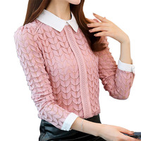 New Autumn Winter Chic Women Poker Slim Lace Blouses Woman Thick Velet Shirts Pink Peter Pan