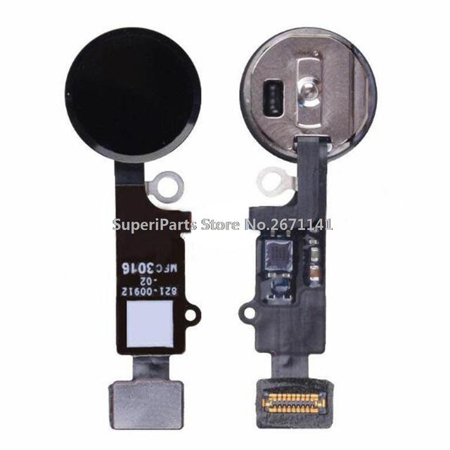 Garantia 100% original tecla home com flex cabo conector e sensor de scanner de impressão digital para o iphone 7 & 7 plus