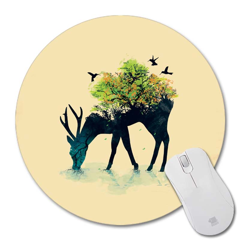 Sulama bir hayat kendisi içine baskılar Oyunu Yuvarlak Masa Mouse Pad Kaymaz Lastik Pedi Boyutu: 200x200x2mm