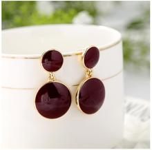Uropean and American fashion drops wine red white tassel retro personality simple round earrings for women