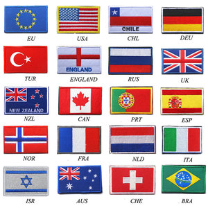 Country Flag patch Stripes Embroidered Russia Turkey France EU Netherlands Flag Tactical Military Patches Army Applique stripe(China)