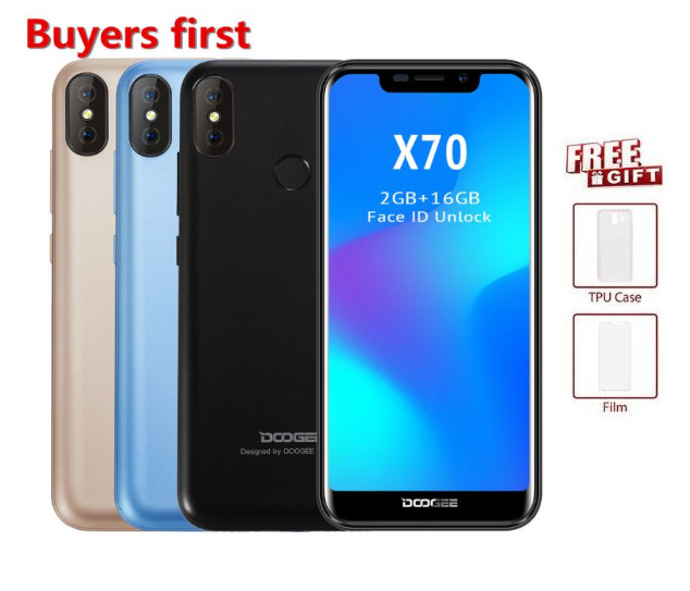 2018 NEW Doogee X70 Smartphone Android 8.1 19:9 5.5FHD 4000mah MTK6580 Quad Core 2GB RAM 16GB ROM face ID 8MP 3G Mobile phone2018 NEW Doogee X70 Smartphone Android 8.1 19:9 5.5FHD 4000mah MTK6580 Quad Core 2GB RAM 16GB ROM face ID 8MP 3G Mobile phone