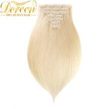 Doreen, 200 г#60 блонд, человеческие волосы для наращивания на заколках, набор на всю голову, 10 шт., бразильские прямые волосы Remy, сделанные в машине, 14-26 дюймов