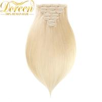 Doreen 200G 60 White Blonde Clip In Human Hair Extensions Full Head Set 10 Pecs Brazilian