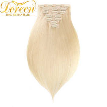 Doreen 200G #60 Blonde Clip In Human Hair Extensions Full Head Set 10pcs Brazilian Machine Made Remy Straight Hair 14-26 Inch - DISCOUNT ITEM  32% OFF All Category
