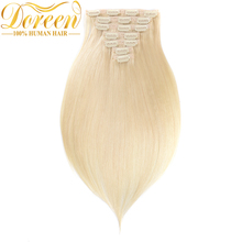Doreen 200G #60 White Blonde Clip In Human Hair Extensions Full Head Set 10 pecs Brazilian Remy Straight Human Hair 14-26 Inch